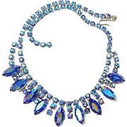 Blue Peacock Aurora Borealis Rhinestone Necklace