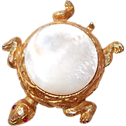 Textured Figural Turtle Pin with Mother-of-Pearl Back