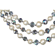 Classic Laguna Crystal and Faux Pearl Earring and Necklace Set