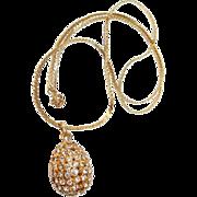 Rhinestone Egg Pendant on Long Gold-tone Chain