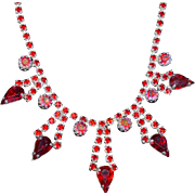Scarce Red Rhinestone Evening Necklace with Sterling Earrings