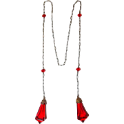 Red Crystal Lap Over Necklace from the Art Deco Era