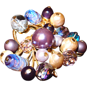 Beaded Spiked Coro Brooch in Lavender Hues of Crystals, Art Glass and Baroque Pearls