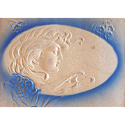 Art Nouveau Easter Egg Postcard Embossed with Women with Wind Blown Hair