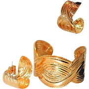 Gold-tone Repousse Cuff and Drop Post Set on SALE