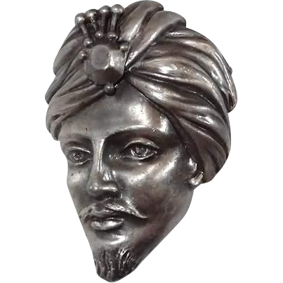 Rajah Face Brooch with Turban Silver-tone Book Piece
