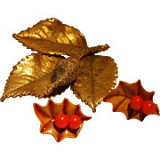 End of Year BLOWOUT SALE Includes Holly Leaf and Berries Pin and Earrings