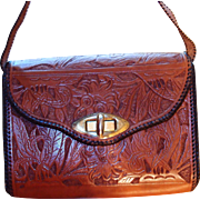 Quality Tooled Leather Handbag Like New
