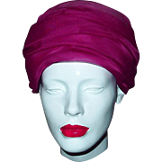 Sophisticated Chiffon Turban Wrapped Hat in Deep Rose/Fuchsia