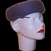 Designer Purple Wool Felt Hat with Netting, Bow and Rhinestone