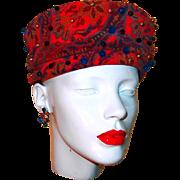 Union Made Hat, Beaded Red Velvet