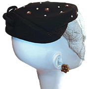 Dark Brown Vintage 100% Wool New York Designer Hat with Rhinestone Star Accents and Bow