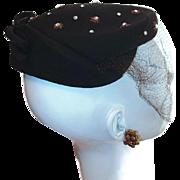 Dark Brown Vintage 100% Wool New York Designer Hat with Rhinestones and Bow