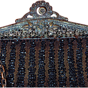 Antique Edwardian Swag Beaded Bag with Fringe and Filigree Frame