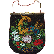 Beaded Purse Cornucopia Horn of Plenty Flower, Wheat, Berry Scenic