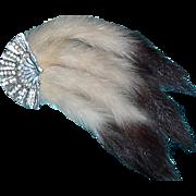 Rhinestone Fan and Erwin Tail Fur Brooch