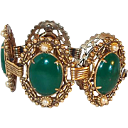 Filigree Link Bracelet with Green Enameling and Simulated Pearls