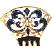 Early Laminated Celluloid Evening Hair Comb Accented Blue Rhinestones