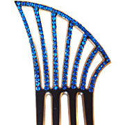 Ornamental Blue Rhinestone Evening Hair Comb, Side Comb