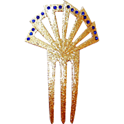 Dazzling Glitter Hair Backcomb with Blue Art Deco Rhinestones