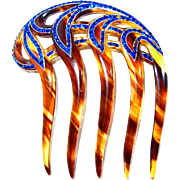 Blue Rhinestone Celluloid Tortoise Art Deco Whimsical Evening Hair Comb