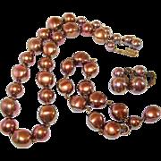 Rainbow Finish Copper Brown Beaded Necklace Earrings Bracelet Set