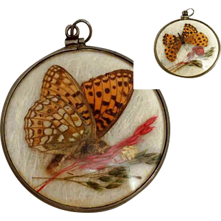 Double Sided Glass Pendant with Butterfly Wings, 1920s Art Deco Book Piece