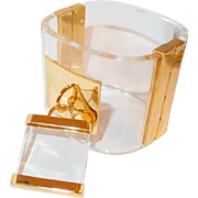 Clear Lucite Cuff Padlock Bangle with Brass Accents Runway Haute Couture