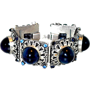 Schiaparelli Egyptian Bracelet in Silver-tone with Deep Blue Glass