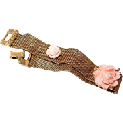 Goldette Celluloid Rose Mesh Bracelet - Free Shipping