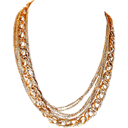 Long Gold-tone Multiple Strand Chain Necklace