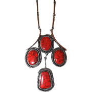 Faux Red Coral Plastic Pendant Necklace on Long Chrome Link Chain