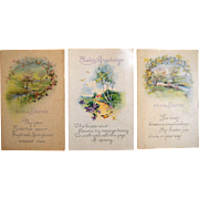 Antique Easter Postcards Spring in the Garden Lot of 3