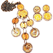 Les Bernard Coin Pendant and Earring Set with Rhinestone