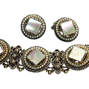 Chunky  Mother-of-Pearl and Faux Seed Pearl Bracelet and Earring Set