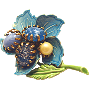 Turquoise Enamel Jeweled Flower Brooch
