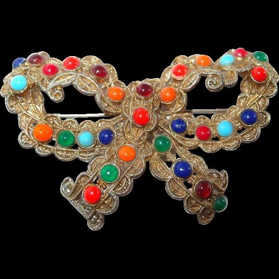 Multi Colored Cabochon Bow Brooch In Semi Precious Colored