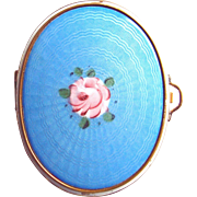 Gold Mesh and Blue Guilloche Enamel Compact Painted Rose Center