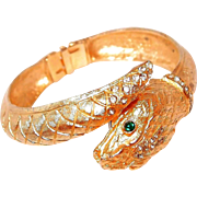 Snake Bangle Swiss Wrist Watch with Rhinestones