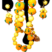 Sugar Coated Glass Oranges and Sunshine Yellow Beaded Necklace Matching Earrings