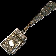 Antique Victorian Chatelaine Waist Clip with Art Nouveau Pomegranate Design Note Pad