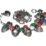SALE: Multi-color Glass Celtic Bracelet and Pin Set