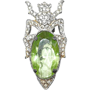 Green Crystal Bug Dress Clip Paved Rhinestones 1931 by Waller