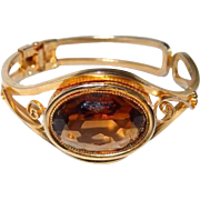 Smoke Golden Topaz Crystal Bracelet with Elaborate Metal Work