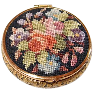 Micro Needlepoint Floral Compact Gold Filled Floral Edging Enamel Backing