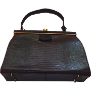 Authentic Lizard Skin Handbag with Leather Lining from 1930s