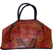 Embossed Egyptian Pharaohs Heads Leather Purse Brown Red Black