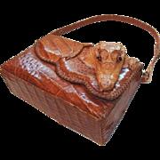 Small Genuine Alligator Skin Handbag Made in Cuba 1950s