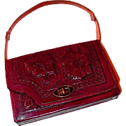 Reversible Red Brown Hand-Tooled Leather Mexican Handbag