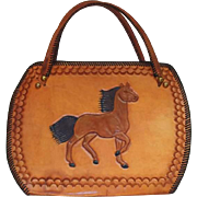 Leather Tool Handbag with Full Horse Both Sides